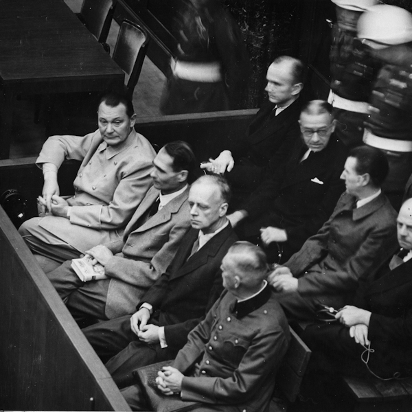 Göring, Heß, von Ribbentrop, and Keitel on trial Nuremberg, 1945-46