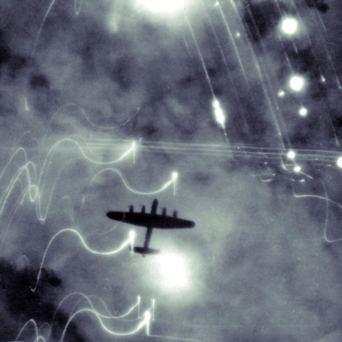 A Royal Airforce bomber during a night raidHamburg, date unknown